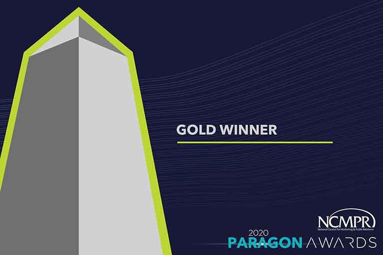 Gold Winner 2020 Paragon Awards from NCMPR slide