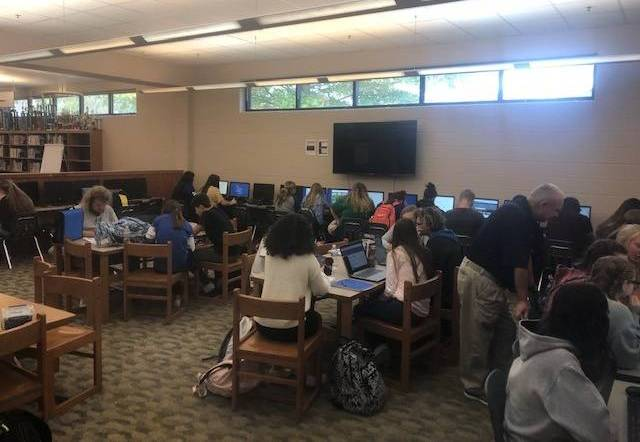 MCTC students having class in library